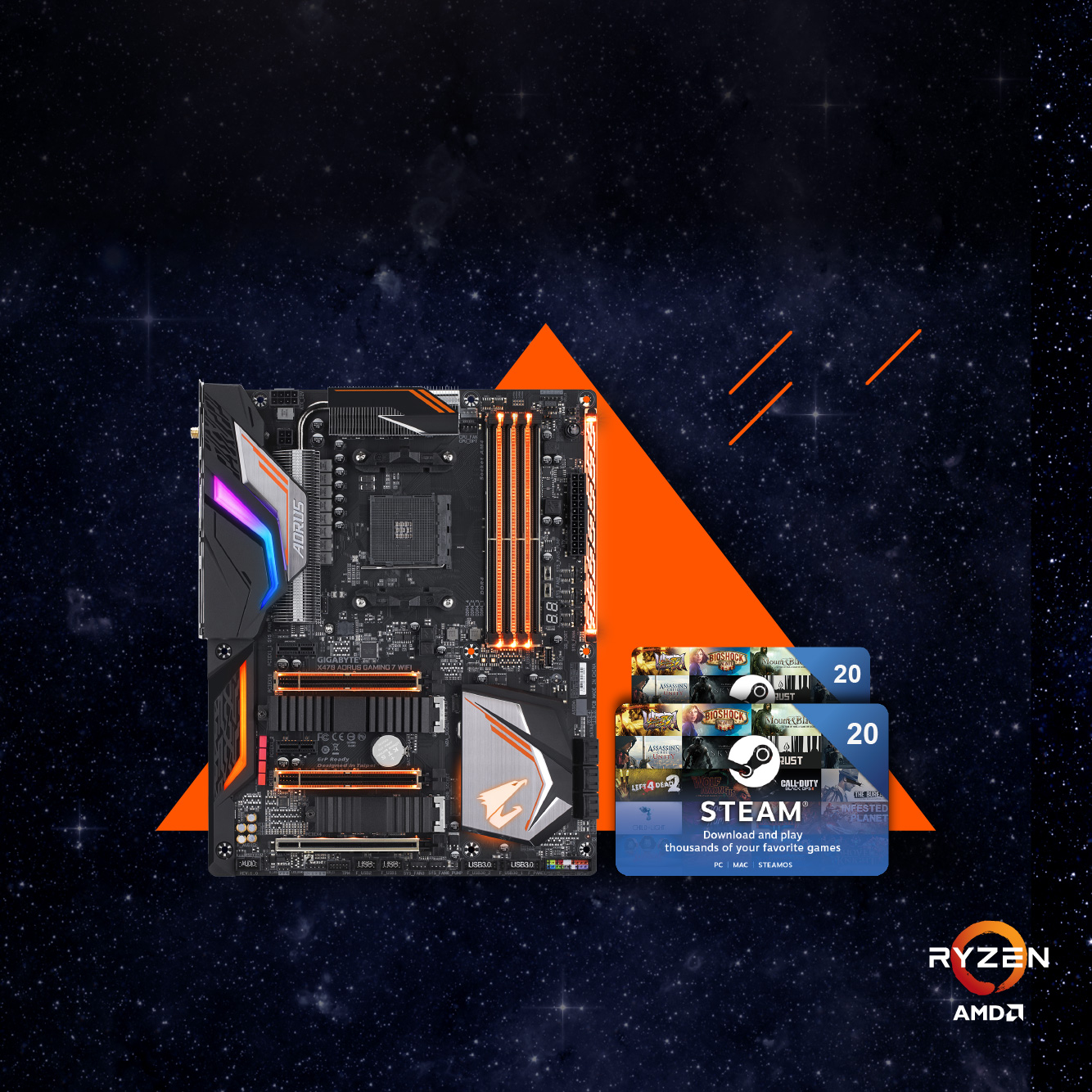 Buy the latest GIGABYTE AM4 motherboards get up to €40 FREE STEAM wallet codes!